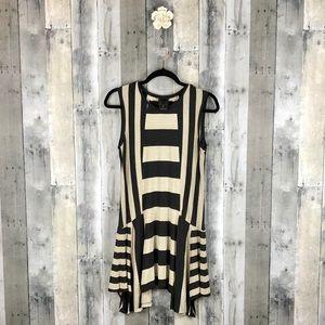 Anna Sui Jersey Black & Gold Striped Dress M EUC